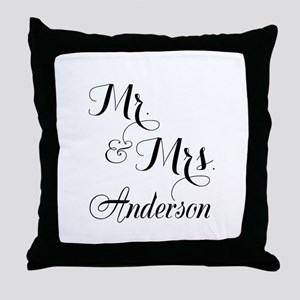 Mr. & Mrs. Personalized Monogrammed Throw Pillow