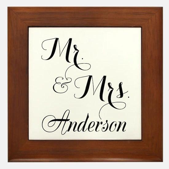 Mr. & Mrs. Personalized Monogrammed Framed Tile