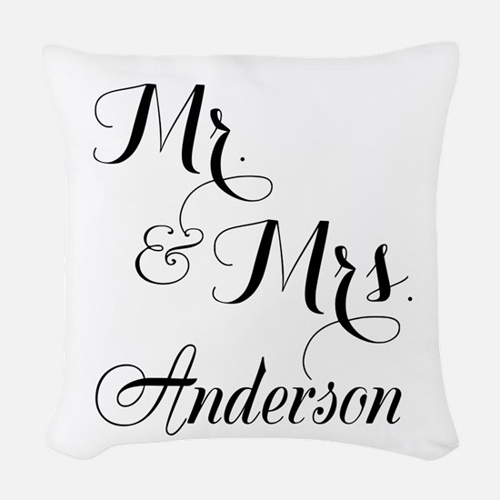 Mr and Mrs Personalized Monogrammed Woven Throw Pi