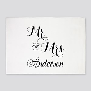 Mr and Mrs Personalized Monogrammed 5'x7'Area Rug