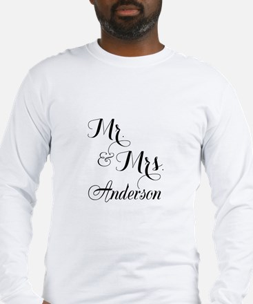 Mr and Mrs Personalized Monogrammed Long Sleeve T-