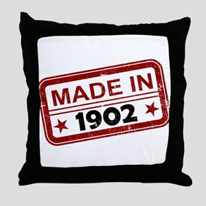 Stamped Made In 1902 Throw Pillow