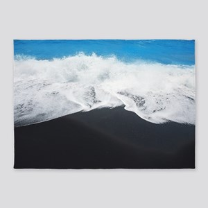 Black Sand Beach 5'x7'area Rug