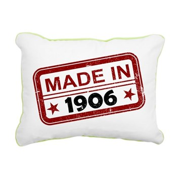 Stamped Made In 1906 Rectangular Canvas Pillow