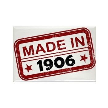 Stamped Made In 1906 Rectangle Magnet (100 pack)