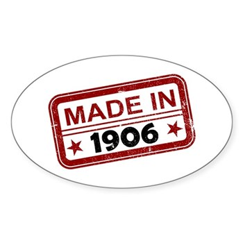 Stamped Made In 1906 Oval Sticker (10 pack)