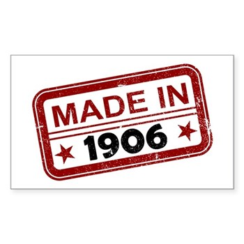 Stamped Made In 1906 Rectangle Sticker (50 pack)
