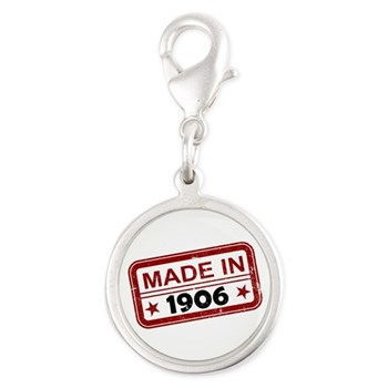 Stamped Made In 1906 Silver Round Charm
