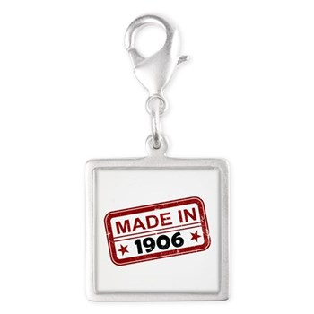 Stamped Made In 1906 Silver Square Charm
