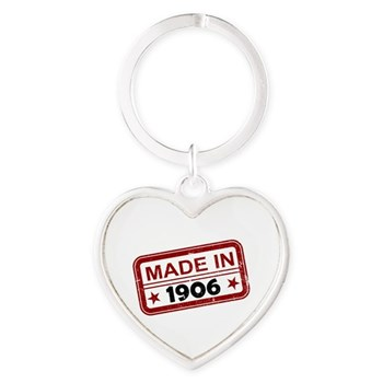 Stamped Made In 1906 Heart Keychain