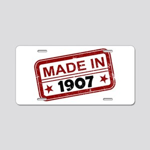 Stamped Made In 1907 Aluminum License Plate