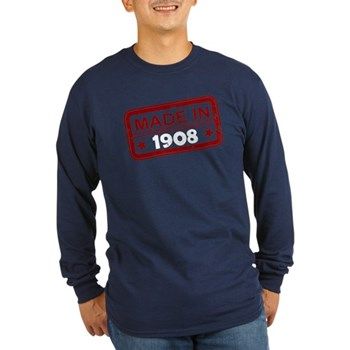 Stamped Made In 1908 Long Sleeve Dark T-Shirt