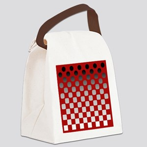Black to White on Red Canvas Lunch Bag