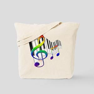 Rainbow Treble Clef Tote Bag