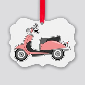 Cute Retro Scooter Pink Picture Ornament
