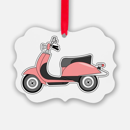 Cute Retro Scooter Pink Ornament