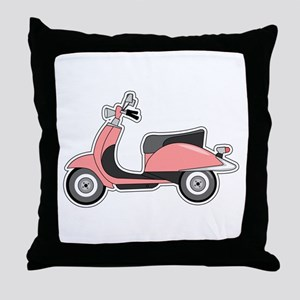 Cute Retro Scooter Pink Throw Pillow
