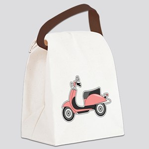Cute Retro Scooter Pink Canvas Lunch Bag