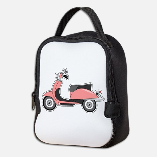 Cute Retro Scooter Pink Neoprene Lunch Bag