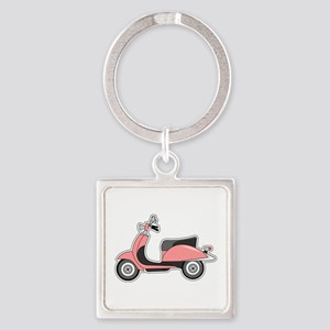 Cute Retro Scooter Pink Square Keychain