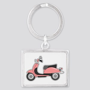 Cute Retro Scooter Pink Landscape Keychain