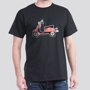 Cute Retro Scooter Pink Dark T-Shirt