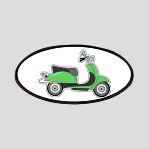 Cute Retro Scooter Green Patches