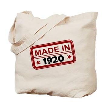 Stamped Made In 1920 Tote Bag