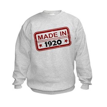 Stamped Made In 1920 Kids Sweatshirt