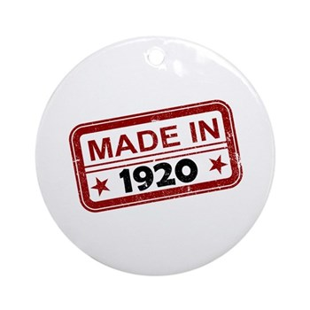 Stamped Made In 1920 Round Ornament