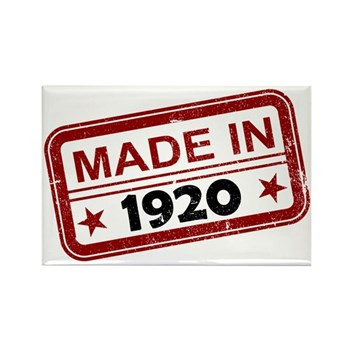 Stamped Made In 1920 Rectangle Magnet (10 pack)