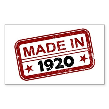 Stamped Made In 1920 Rectangle Sticker (10 pack)