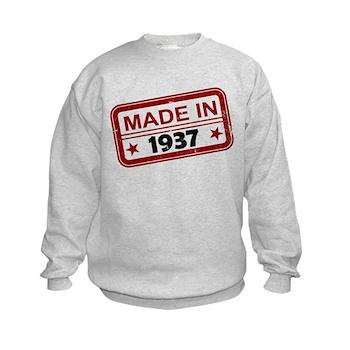 Stamped Made In 1937 Kids Sweatshirt