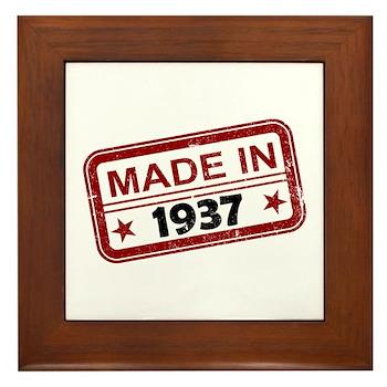 Stamped Made In 1937 Framed Tile