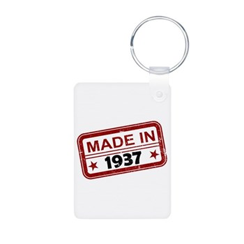 Stamped Made In 1937 Aluminum Photo Keychain