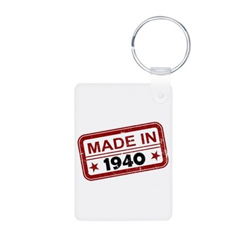 Stamped Made In 1940 Aluminum Photo Keychain
