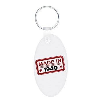 Stamped Made In 1940 Aluminum Oval Keychain