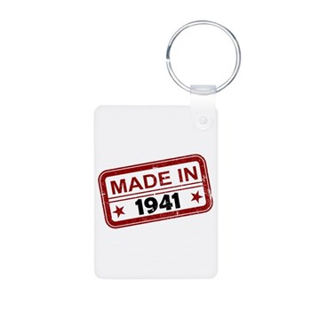 Stamped Made In 1941 Aluminum Photo Keychain