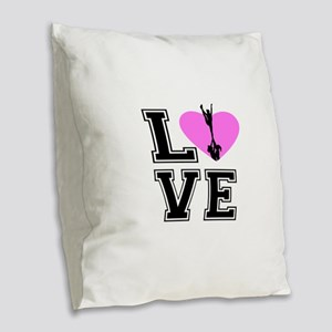 Love Cheerleading Burlap Throw Pillow