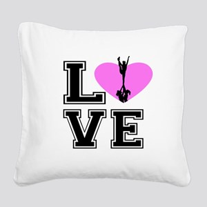 Love Cheerleading Square Canvas Pillow