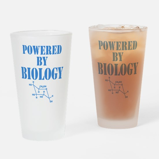 Powered By Biology Drinking Glass