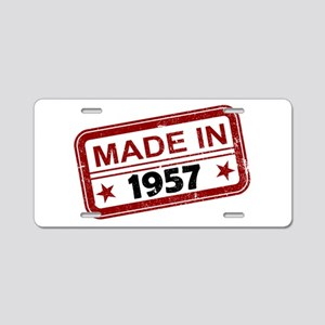 Stamped Made In 1957 Aluminum License Plate