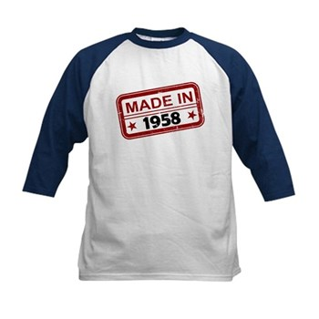 Stamped Made In 1958 Kids Baseball Jersey