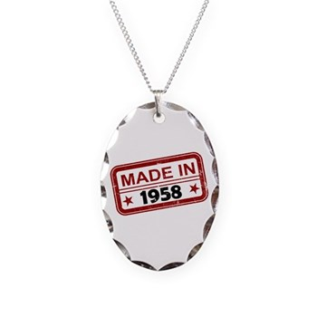 Stamped Made In 1958 Necklace Oval Charm
