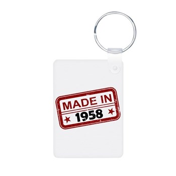 Stamped Made In 1958 Aluminum Photo Keychain