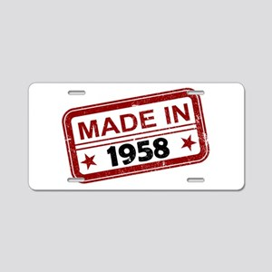 Stamped Made In 1958 Aluminum License Plate