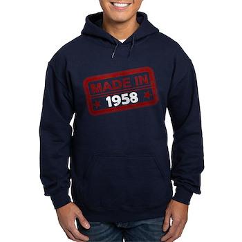 Stamped Made In 1958 Dark Hoodie