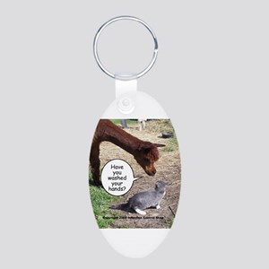 wash your hands black Aluminum Oval Keychain