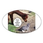 wash your hands black Sticker (Oval 50 pk)