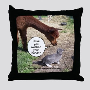 wash your hands black Throw Pillow